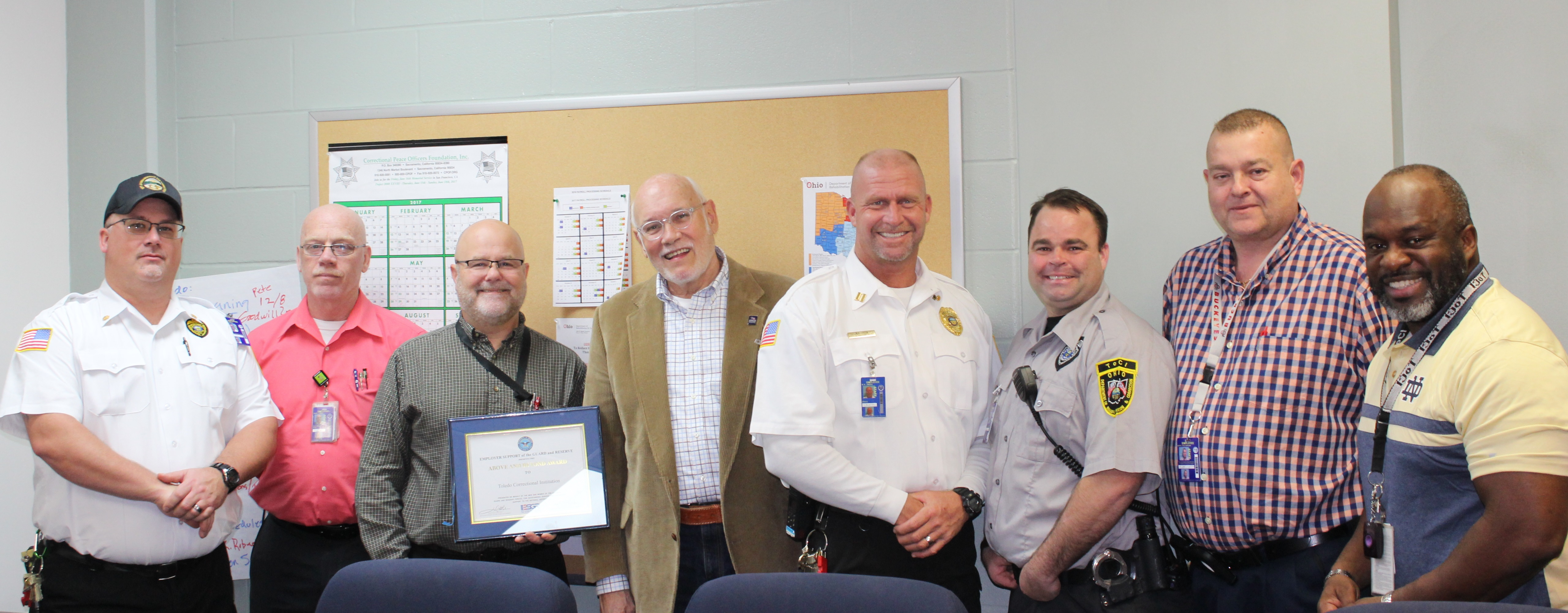 Toledo Correctional Institution presented ESGR Above and Beyond Award