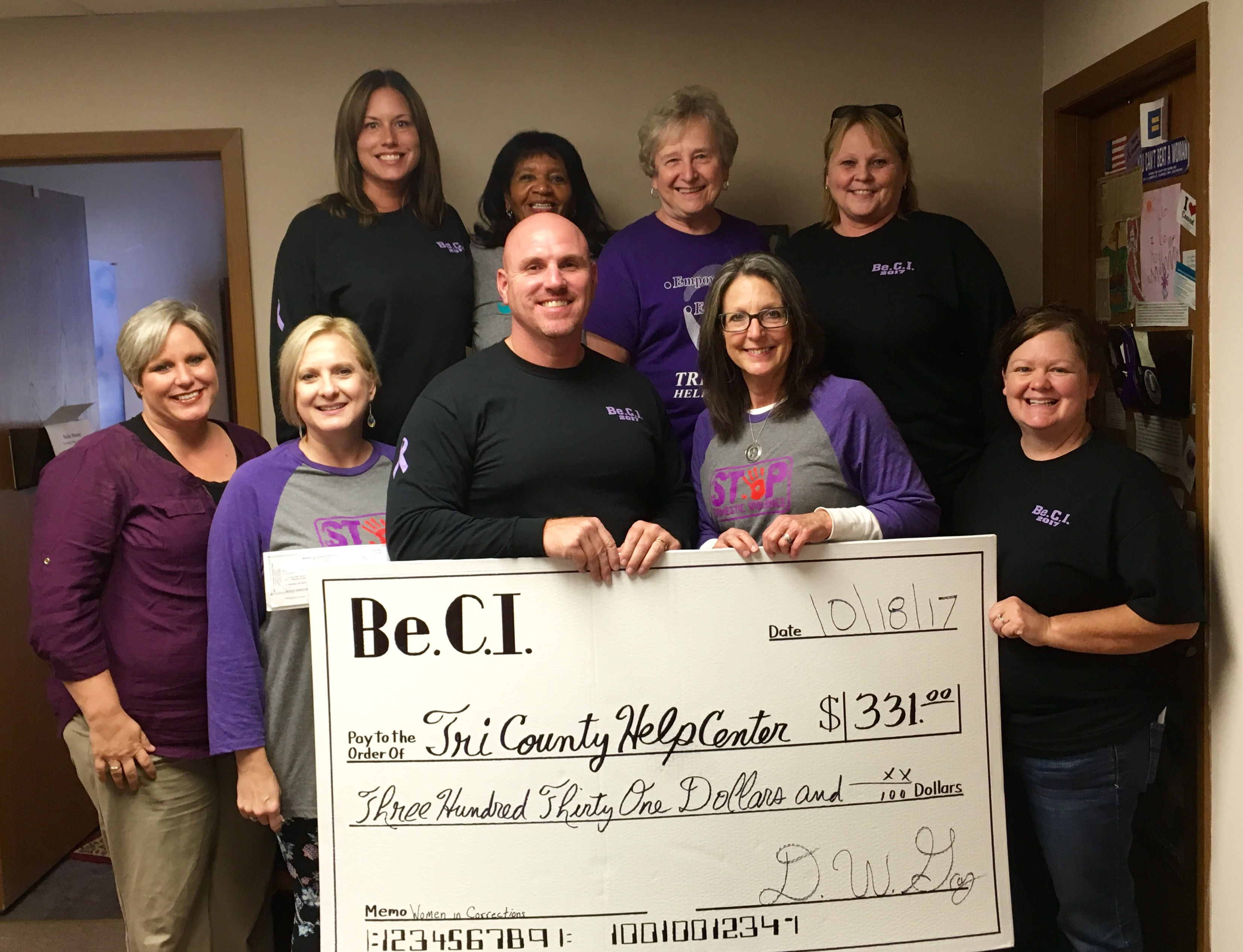 BeCI Women in Corrections Make Donation to Local Help Center
